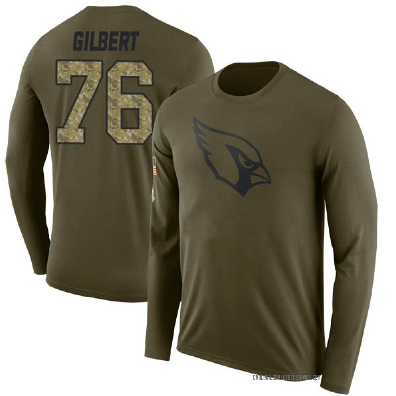 Men's Marcus Gilbert Arizona Cardinals Legend Olive Salute to Service Sideline Long Sleeve T-Shirt